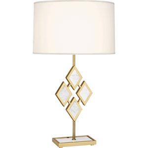 Hartfield Brass One-Light 29-Inch Marble Table Lamp with White Shade