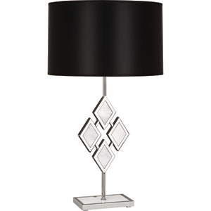 Hartfield Polished Nickel One-Light 29-Inch White Marble Table Lamp with Black Shade