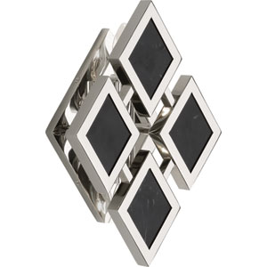 Hartfield Polished Nickel Two-Light Black Marble Wall Sconce