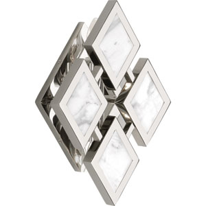Hartfield Polished Nickel Two-Light White Marble Wall Sconce