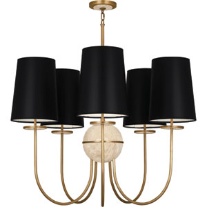 Avon Aged Brass Five-Light Chandelier with Black Shades and Travertine Glass