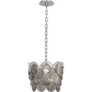 Neptune Polished Nickel Four-Light Pendant with Smoky Rock Crystal