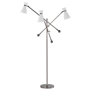 Stratford White and Polished Nickel Three-Light Floor Lamp