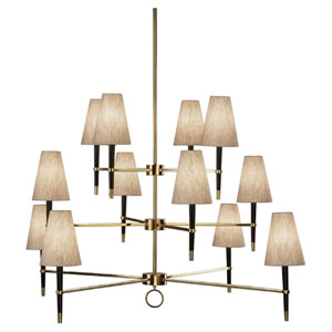 Albany Brass and Wood 12-Light Chandelier
