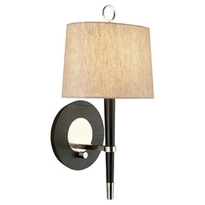 Albany Wood and Polished Nickel One-Light Wall Sconce