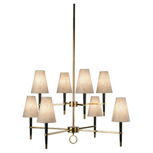 Albany Wood and Antique Brass Eight-Light Tiered Chandelier