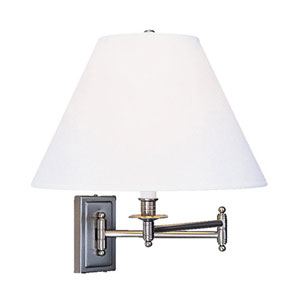 Bayfield Brushed Chrome One-Light Wall Swinger with Ascot White Shade