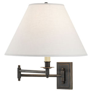 Bayfield  Patina Bronze One-Light Wall Swinger with Oyster Linen Shade