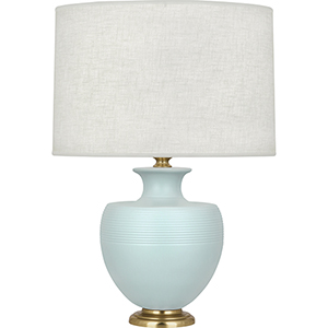 Lancaster Blue and Brass Accents 25-Inch One-Light Table Lamp