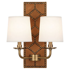 Argyle Aged Brass and Brown Two-Light Wall Sconce