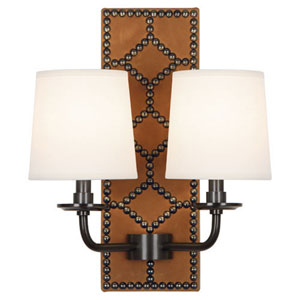 Argyle  Patina Bronze and Brown Two-Light Wall Sconce