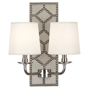 Argyle Polished Nickel and Marble Two-Light Wall Sconce