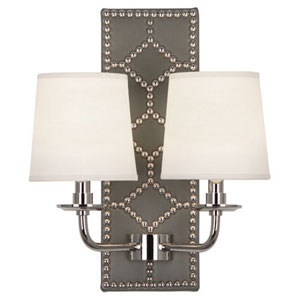 Argyle Polished Nickel and Gray Two-Light Wall Sconce