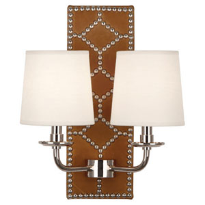 Argyle Polished Nickel and Brown Two-Light Wall Sconce