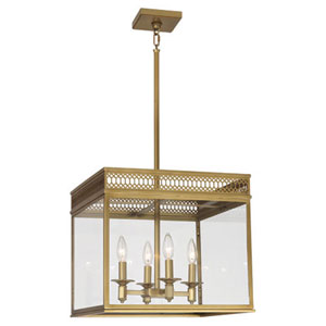 Mariner Antique Brass Four-Light Chandelier