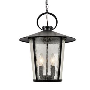 Alba Matte Black Four-Light Outdoor Pendant
