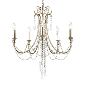 Ashby Antique Silver Five-Light Chandelier