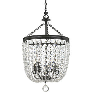 Bartletts Bronze 14-Inch Five-Light Chandelier with Clear Hand Cut Crystal