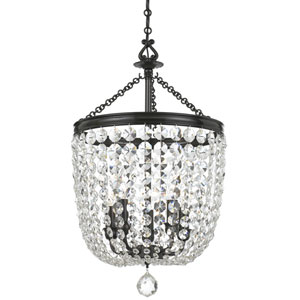 Bartletts Bronze 14-Inch Five-Light Chandelier with Clear Swarovski Strass Crystal