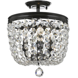 Bartletts Bronze 11.5-Inch Three-Light Semi Flush Mount with Clear Hand Cut Crystal