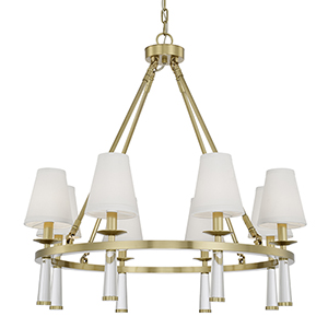 Britton Aged Brass Eight-Light Chandelier