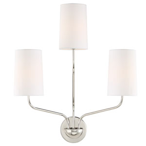 Cardinal Polished Nickel Three-Light Wall Sconce