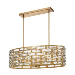 Cayman Antique Gold Eight-Light Chandelier