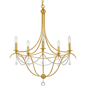 Cheshire Antique Gold Five-Light Chandelier