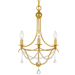 Cheshire Antique Gold Three-Light Chandelier