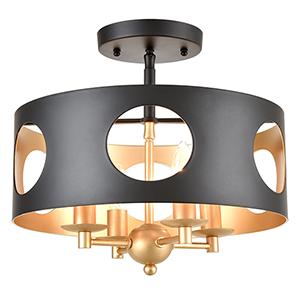 Delilah Matte Black and Antique Gold Four-Light Semi Flush Mount