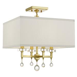 Derby Antique Gold Four-Light Semi Flush Mount