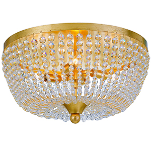 Hampstead Antique Gold Four-Light Flush Mount