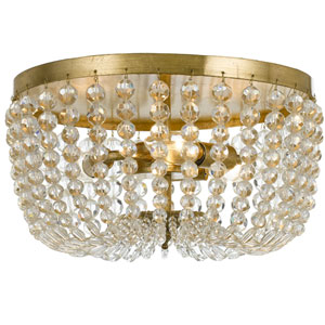 Hampstead Antique Gold Three-Light Flush Mount