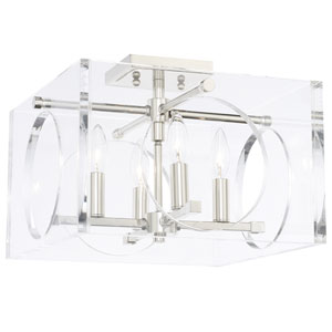 Leigh Polished Nickel Four-Light Flush Mount
