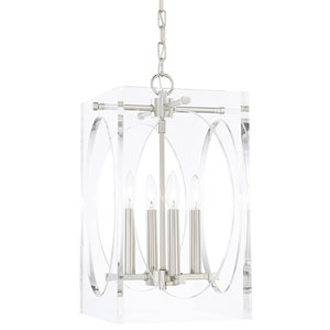 Leigh Polished Nickel 12-Inch Four-Light Chandelier