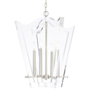 Leigh Polished Nickel 21-Inch Four-Light Chandelier