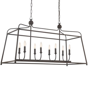 London Bronze 18-Inch Eight-Light Chandelier