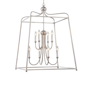 London Polished Nickel 27.5-Inch Eight-Light Chandelier