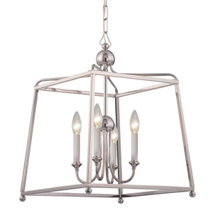 London Polished Nickel 16-Inch Four-Light Chandelier