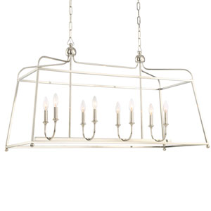 London Polished Nickel 18-Inch Eight-Light Chandelier