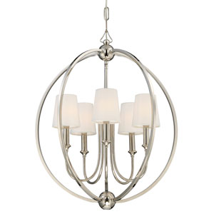 London Polished Nickel 22.5-Inch Five-Light Chandelier
