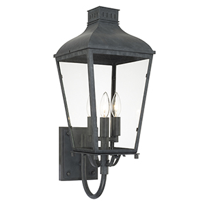 Magnus Black 9-Inch Three-Light Outdoor Wall Sconce