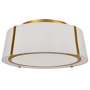 Manning Antique Gold Three-Light Flush Mount