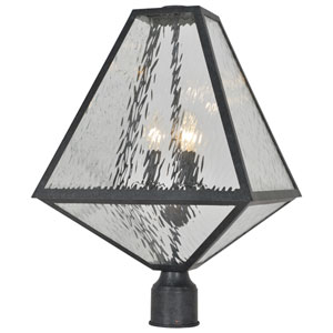 Randolph Matte Black and Polished Chrome Three-Light Outdoor Post Lantern