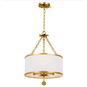 Rosemary Antique Gold Three-Light Semi Flush Mount