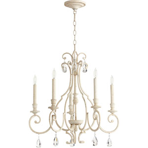 Acacia White Five-Light Chandelier