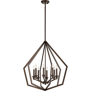 Acorn Oiled Bronze Eight-Light Pendant
