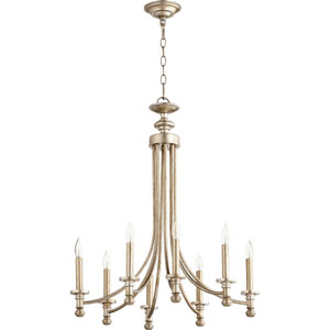 Atherton Aged Silver Leaf 25-Inch Eight-Light Chandelier