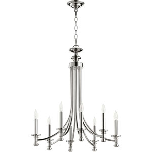 Atherton Polished Nickel 25-Inch Eight-Light Chandelier
