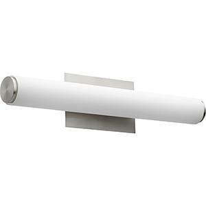 Avante Satin Nickel and Matte White Acrylic 24-Inch Two-Light LED Bath Bar